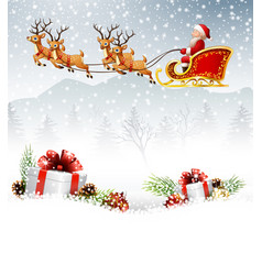 Christmas background with santa clause riding his vector