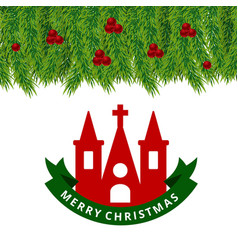 christmas card woth church and green leafs frame vector image