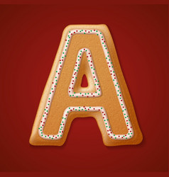 Christmas gingerbread cookies alphabet vector image