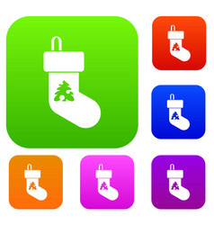 christmas sock set collection vector image