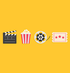 cinema icon set line popcorn box package big vector image