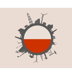 Circle with industrial silhouettes Poland flag vector