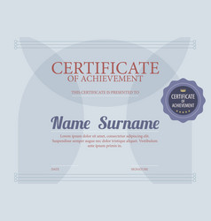 Classic blue blank certified border template vector