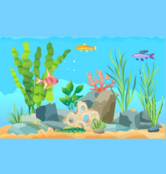 Colorful cartoon aquarium fish set promo poster vector