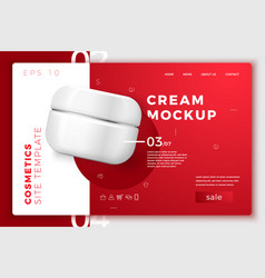 cosmetic cream pack modern site template vector image