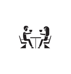 couple in restaurant black concept icon vector image
