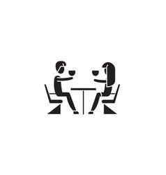 couple in restaurant black concept icon vector image