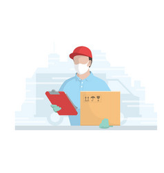 courier in medical mask on face vector image