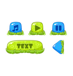 cute green and blue glossy buttons set user vector image