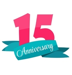 Cute Template 15 Years Anniversary Sign vector image