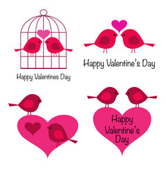 cute valentines day birds with hearts vector image