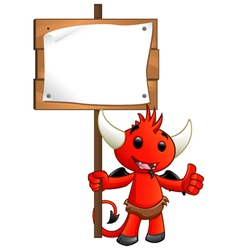 Devil Character Holding A Sign vector image