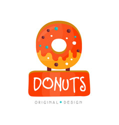 Donut logo original design bakery and pastry shop vector