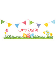 Easter eggs flowers and garland vector