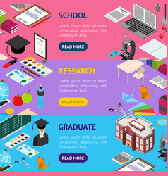 Education school banner horizontal set isometric vector