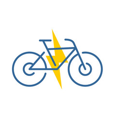 Electric bike logo electricity driven bicycle vector