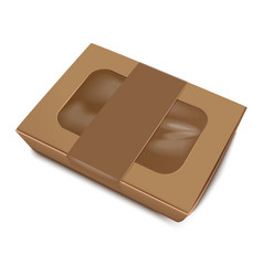 Empty brown paper food container with label vector