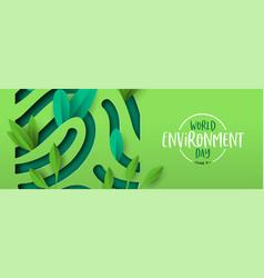 Environment day banner green cutout fingerprint vector
