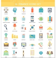 finance color flat icon set Elegant style vector image