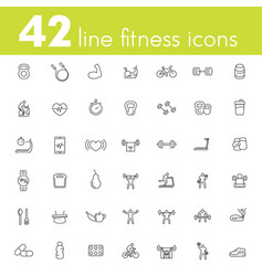 fitness workout gym icons pack linear vector image