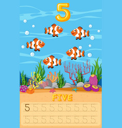 Five underwater fish worksheet vector
