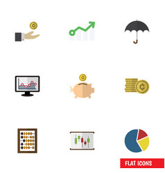 flat icon incoming set of growth parasol counter vector image