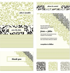 Floral invite stationary vector