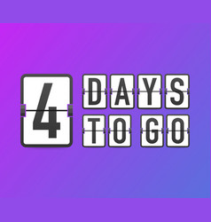 Four days to go time icon vector