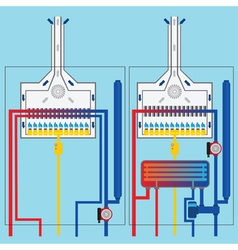 Gas boilers with heat exchanger vector