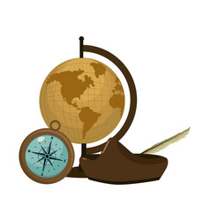Global map desk with compass and hat vector