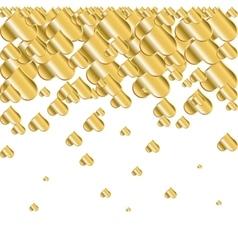 Golden falling hearts vector