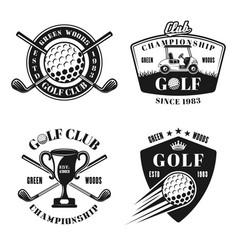 Golf and golfing monochrome emblems vector
