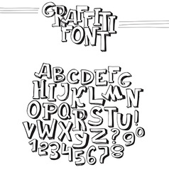 Graffiti font Abc letters from A to Z and numbers vector