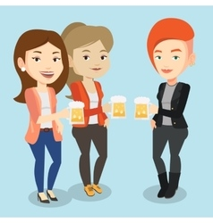 Group of friends enjoying beer at pub vector image