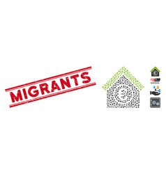 Grunge migrants line seal with mosaic euro vector