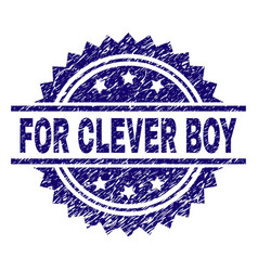 Grunge textured for clever boy stamp seal vector