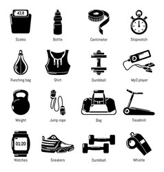 gym sport icons set simple style vector image