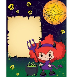 Halloween cute devil girl vector image