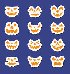halloween face icon sticker set vector image