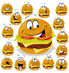 Hamburger cartoon with many expressions vector