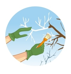Hands whitewashing a tree vector