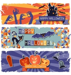 Happy halloween grungy retro horizontal banners vector