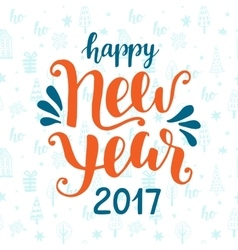 Happy New Year 2017 hand drawn greeting card vector