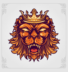 Head crown lion logo with ornaments vector
