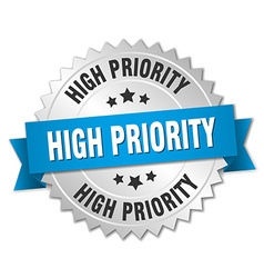 High priority 3d silver badge with blue ribbon vector