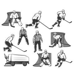 ice hockey players referee characters set vector image
