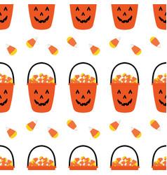 jack o lantern basket full candy corns pattern vector image