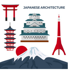 Japanese architecture modern flat design vector
