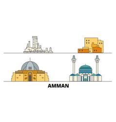 Jordan amman flat landmarks vector
