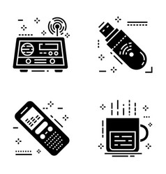 Journalism and social media solid icons pack vector